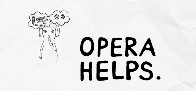Opera Helps logo and person thinking about their worries with think bubbles