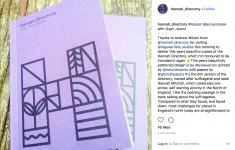 An instagram post from @hannah_directory showing 2 copies of the Hannah Directory book